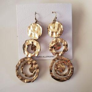 Gold Ring/Circle Dangling Earrings